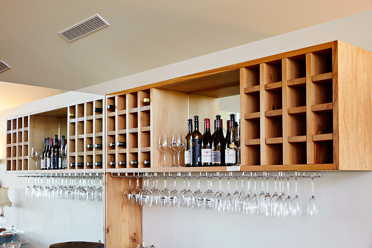 Restaurant wine and glass racks